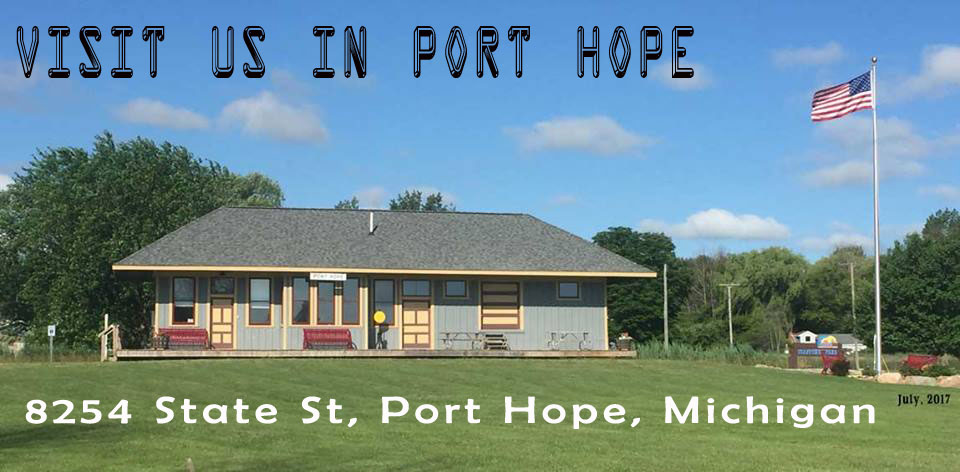 The Port Hope Depot - a restored train station adjacent to Stafford County Park, Port Hope, Michigan.