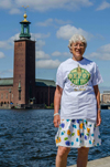 Our Friend Kerstin in front of Stockholm City Hall, Sweden.