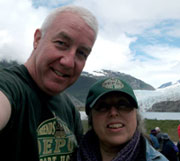 Deans son and daughter in law, Marc and Debbie, at Mendenhall Glacier, Juneau.